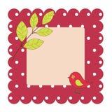 Kaart met vogel en bladeren Royalty-vrije Stock Afbeelding