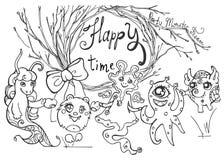 Kaart met vriendschappelijke monsters, boomtakken en tekst Stock Afbeeldingen