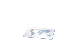 Kaart met wereld-kaart Stock Fotografie