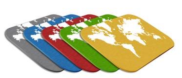 Kaart met wereldkaart Royalty-vrije Stock Afbeeldingen
