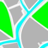 Kaart - Naadloos Patroon Groen Park, Blauwe Rivier, Witte Wegen Stock Afbeelding