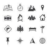 Kaart, Navigatie en Plaats geplaatste Pictogrammen Stock Afbeelding