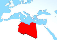 Kaart opgeheven Libië, rood, 3d, Afrika, Europa Royalty-vrije Stock Afbeeldingen