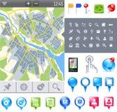 Kaart-pictogram-gps Stock Afbeelding