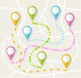 Kaart, route, richting, weg, navigatie, vlakke kleur, Stock Foto