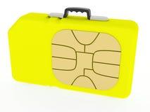 Kaart SIM die als geval wordt vertegenwoordigd Royalty-vrije Stock Afbeeldingen