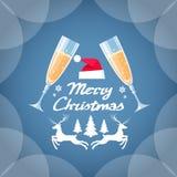 Kaart Twee Glazen Champagne van de groetuitnodiging Stock Fotografie