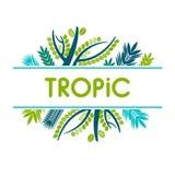 Kaart, uitnodiging, banner met tropische bladeren Kader met tropische installaties vector illustratie