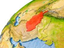 Kaart van Afghanistan in rood op bol Royalty-vrije Stock Afbeeldingen