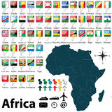 Kaart van Afrika Stock Foto's