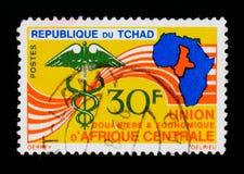 Kaart van Afrika, het embleem van de Gezondheidsorganisatie, circa 1966 Royalty-vrije Stock Foto's