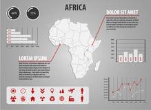 Kaart van Afrika - infographic illustratie met grafieken en nuttige pictogrammen Royalty-vrije Stock Fotografie