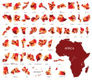 Kaart van Afrika Landen in Afrika Royalty-vrije Stock Foto's