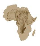 Kaart van Afrika met getrokken olifant Royalty-vrije Stock Afbeeldingen