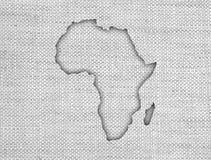 Kaart van Afrika op oud linnen Royalty-vrije Stock Afbeelding
