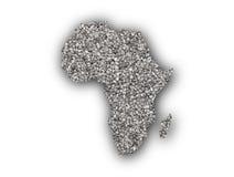 Kaart van Afrika op papaverzaden Royalty-vrije Stock Foto