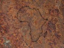 Kaart van Afrika op roestig metaal Stock Afbeeldingen