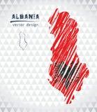 Kaart van Albanië met hand getrokken schets binnen kaart Vector illustratie stock illustratie