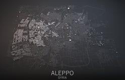 Kaart van Aleppo, Syrië, satellietmening Stock Foto's