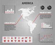 Kaart van Amerika - infographic illustratie met grafieken en nuttige pictogrammen Royalty-vrije Stock Afbeeldingen