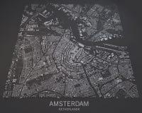 Kaart van Amsterdam, satellietmening, kaart in negatief, Nederland Stock Fotografie