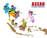 Kaart van ASEAN - AEC Stock Afbeelding
