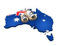 Kaart van Australië en Sydney Opera House Stock Fotografie