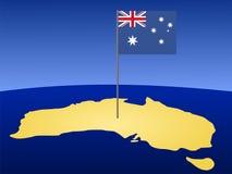 Kaart van Australië met vlag Stock Foto