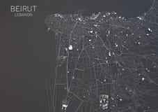 Kaart van Beiroet, Libanon, satellietmening Stock Foto's