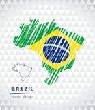 Kaart van Brazilië met de hand getrokken binnen kaart van de schetspen Vector illustratie royalty-vrije illustratie