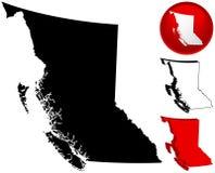 Kaart van Brits Colombia, Canada Stock Afbeeldingen