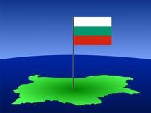 Kaart van Bulgarije met vlag royalty-vrije illustratie