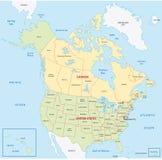 Kaart van Canada en Verenigde Staten Royalty-vrije Stock Afbeelding