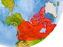 Kaart van Canada ter wereld Royalty-vrije Stock Foto's