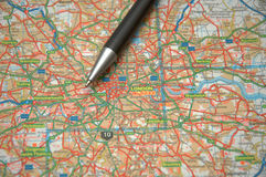 Kaart van centraal Londen stock afbeeldingen
