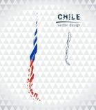 Kaart van Chili met de hand getrokken binnen kaart van de schetspen Vector illustratie royalty-vrije illustratie