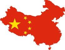Kaart van China met Vlag royalty-vrije illustratie