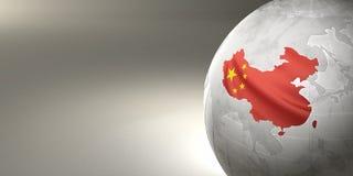 Kaart van China ter wereld In de nationale kleuren Stock Foto