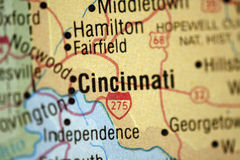 Kaart van Cincinnati Ohio stock afbeeldingen
