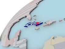 Kaart van Cuba met vlag royalty-vrije illustratie
