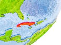 Kaart van Cuba ter wereld Royalty-vrije Stock Foto
