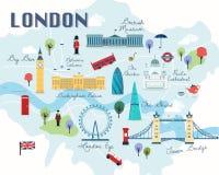 Kaart van de Aantrekkelijkhedenvector en Illustratie van Londen Royalty-vrije Stock Foto's