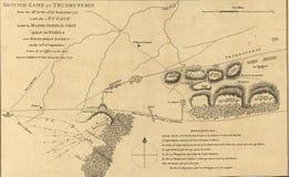 Kaart van de aanval bij Witte Herberg van het Paard, 1777. Stock Afbeelding