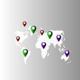 Kaart van de aarde om een plaats te vinden stock fotografie