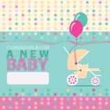 Kaart van de baby de Geboren Groet Stock Fotografie
