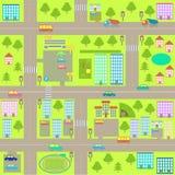 Kaart van de beeldverhaal de naadloze stad Stock Foto's