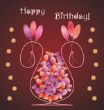 Kaart van de bloem de vaas gevormde verjaardag met suikergoed Stock Foto