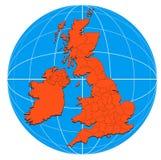 Kaart van de Britse Eilanden stock illustratie