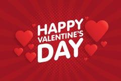 Kaart van de de Dag de Uitstekende Groet van gelukkig Valentine Achtergrond met harten Stock Fotografie