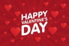 Kaart van de de Dag de Uitstekende Groet van gelukkig Valentine Achtergrond met harten Royalty-vrije Stock Foto